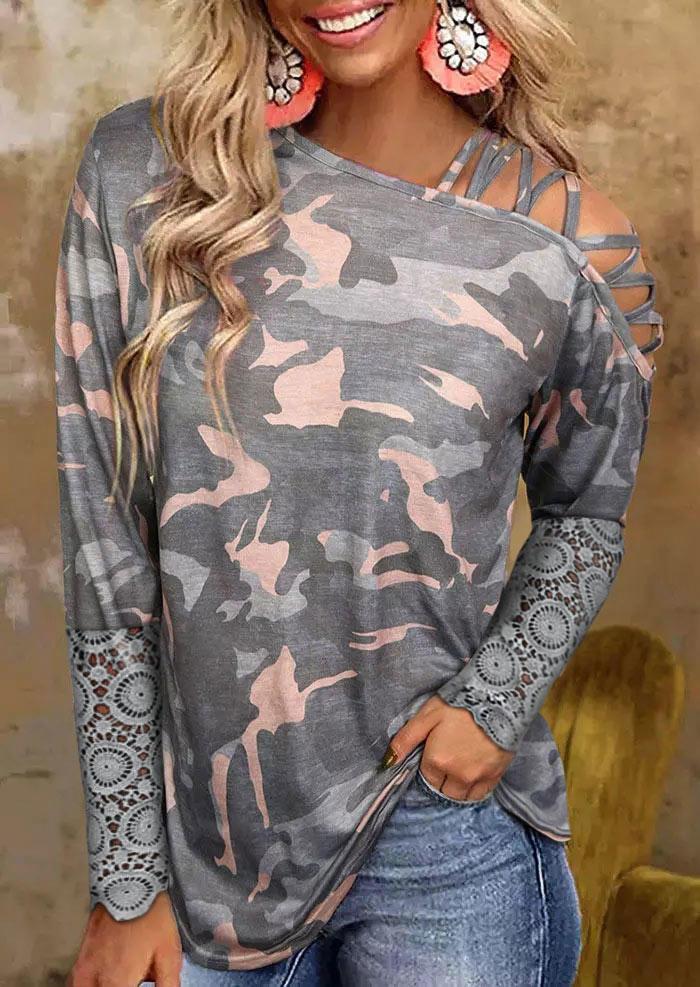 Camouflage Lace Slash Neck Criss-CrossBlouse