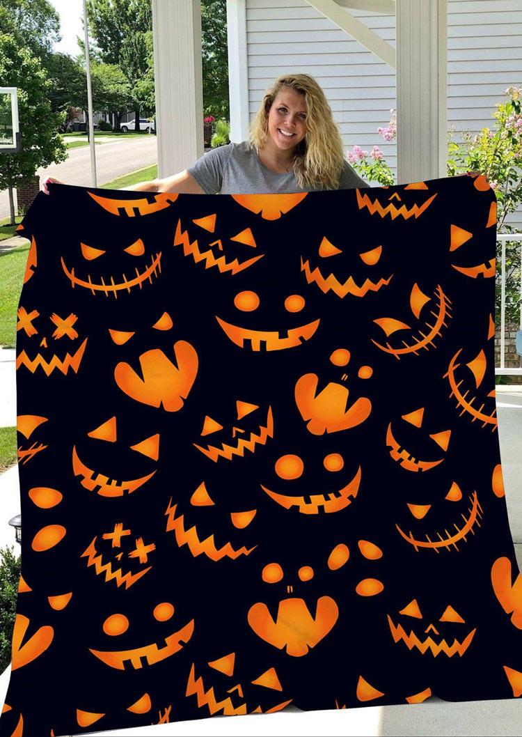 Halloween Pumpkin Face Ghost Flannel Blanket