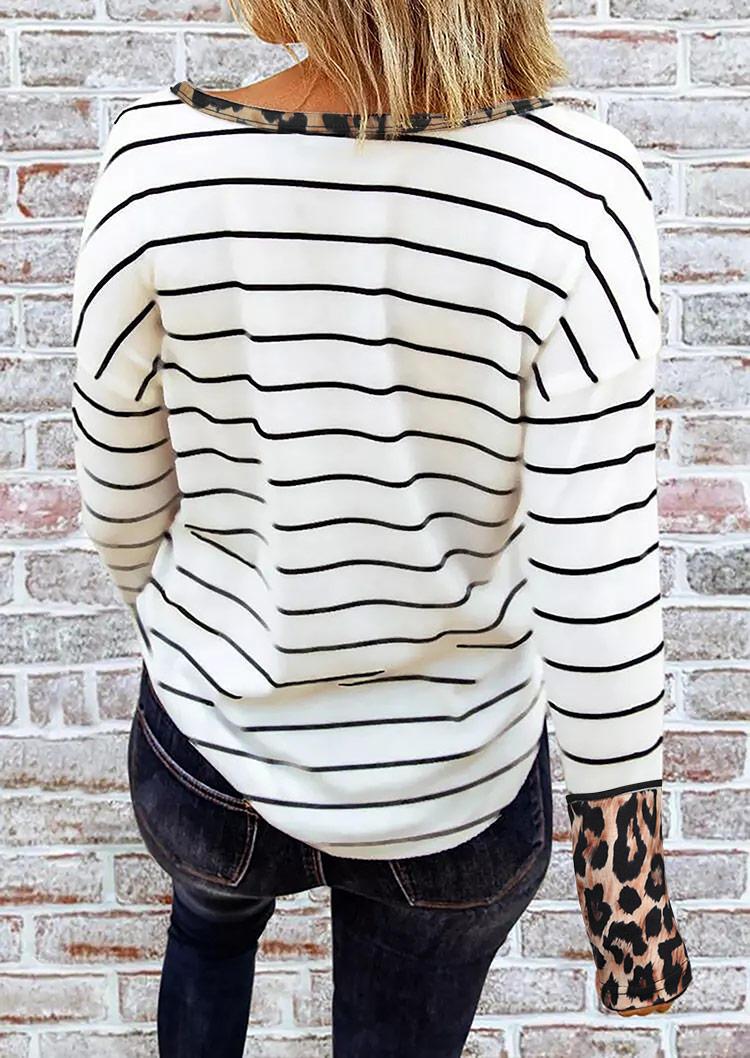 Leopard Striped Button Casual Blouse - White