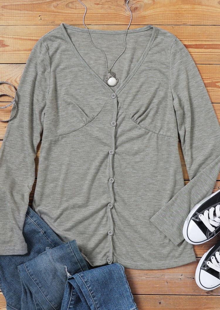 Button Ruffled V-Neck Casual Blouse - Gray