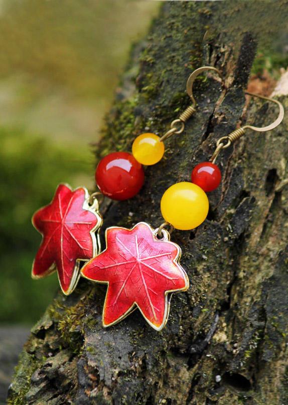 Maple Leaf Beading Alloy Earrings