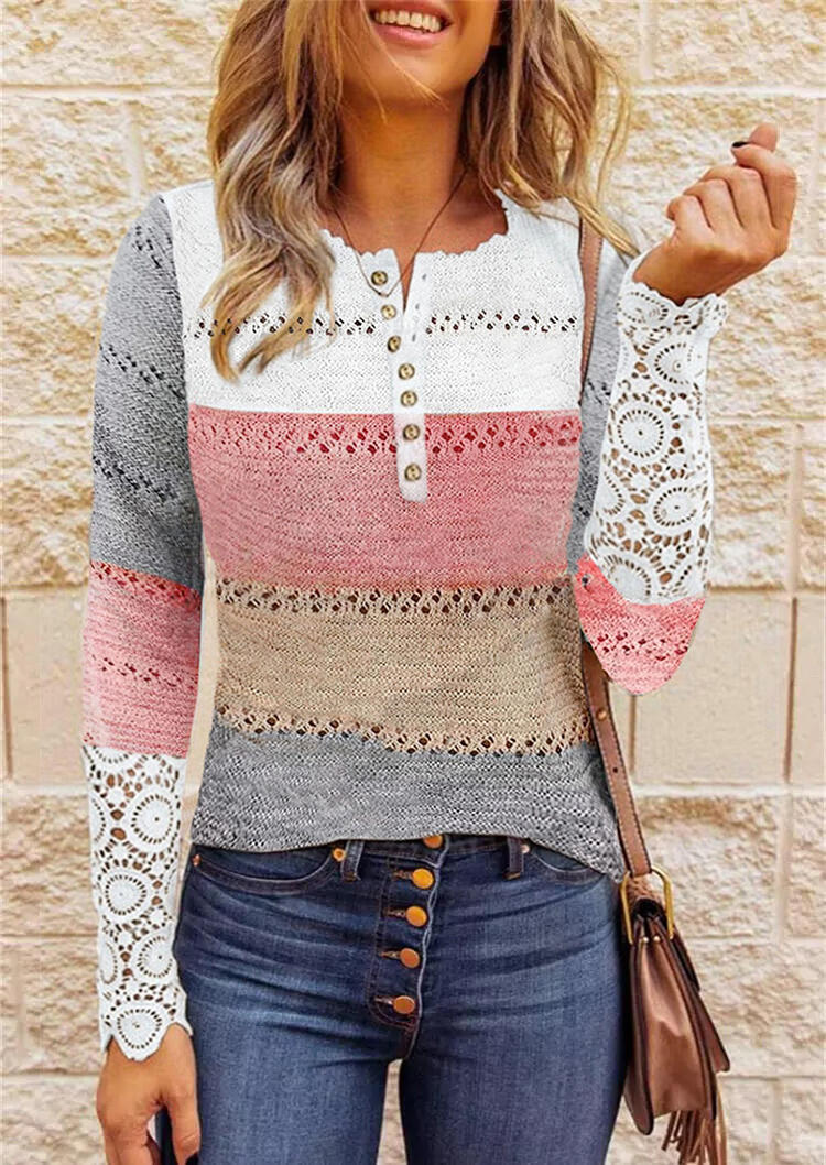 Lace Color Block Hollow Out Button Sweater