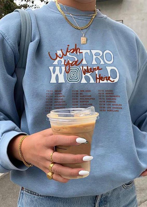 Astroworld Wish You Were Here Sweatshirt - Light Blue