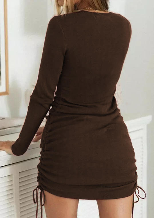 Ruched Drawstring Long Sleeve Bodycon Dress - Coffee