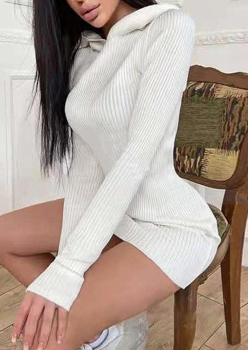 Hooded Long Sleeve Bodycon Dress - White