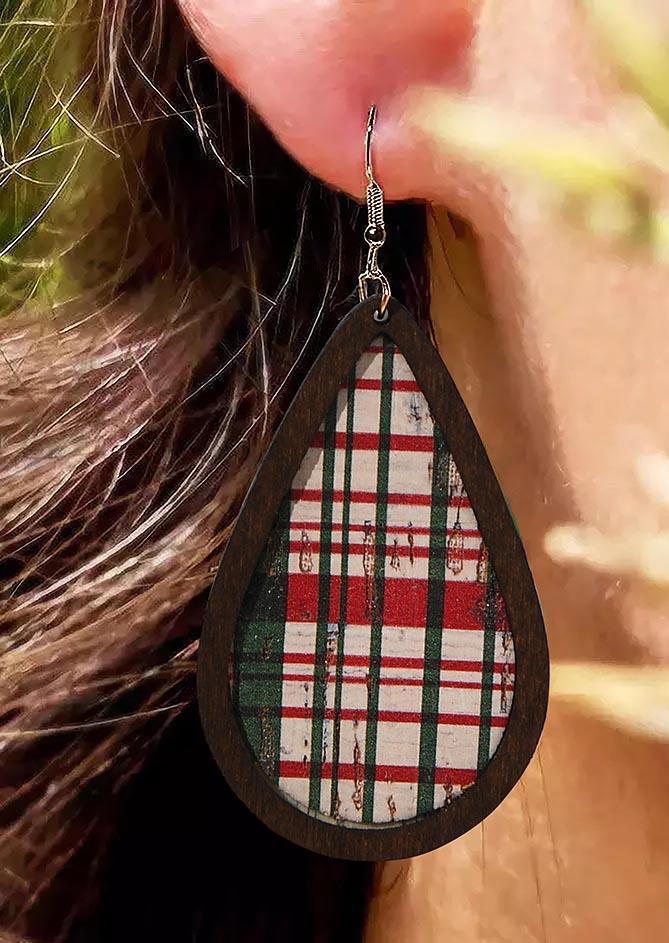Buffalo Plaid Water Drop Wooden Earrings