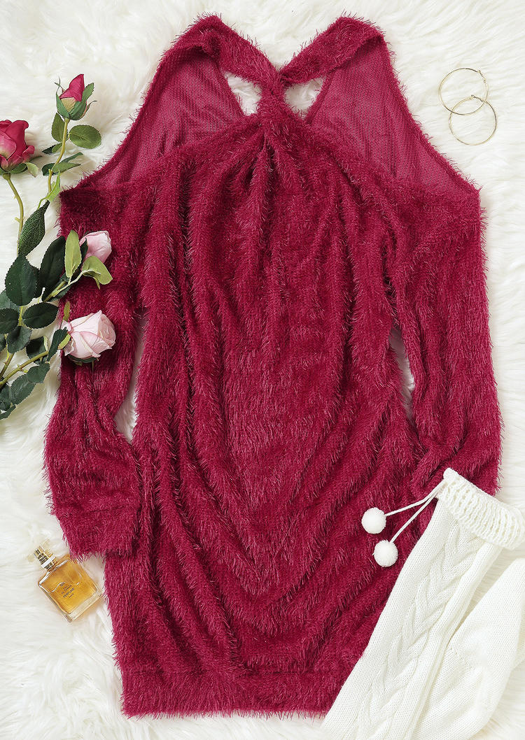 Fuzzy Hollow Out Open Back Cold Shoulder Mini Dress - Burgundy
