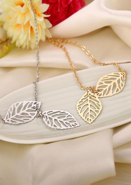 Fashion Leaf Asymmetric Chain Necklace