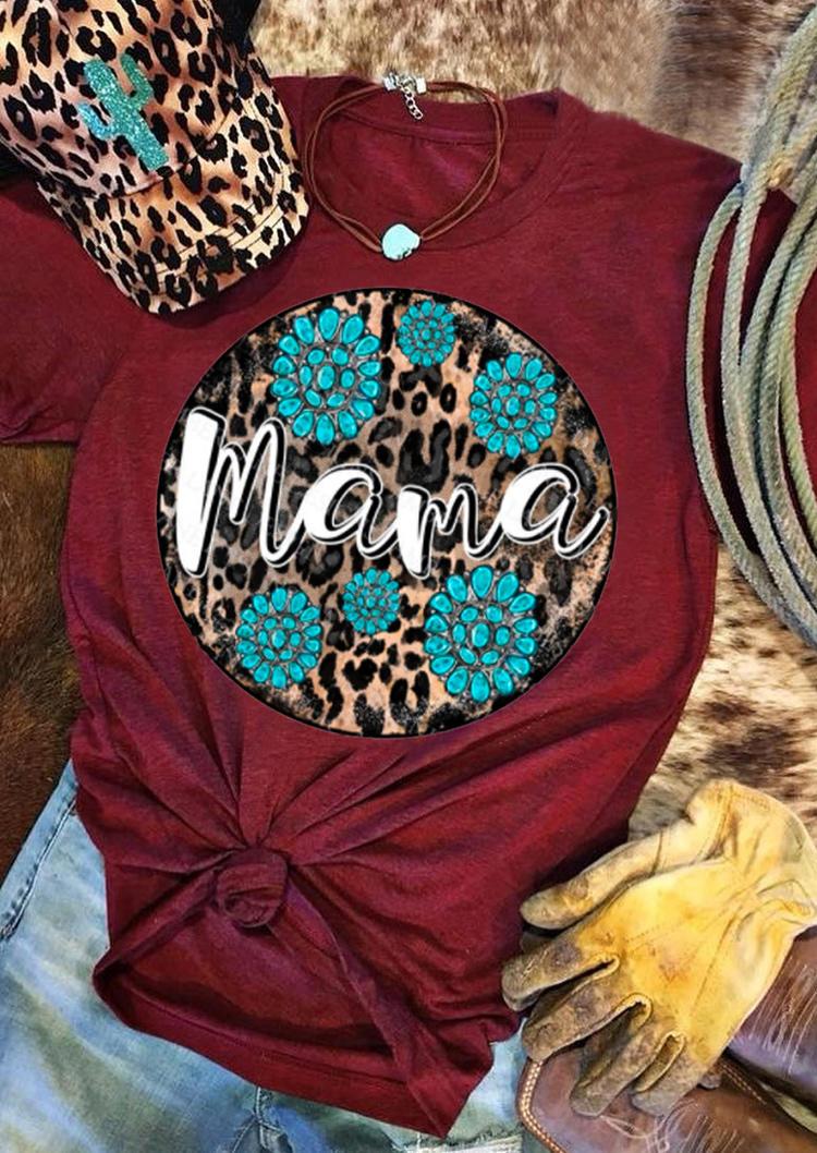 Mama Leopard Turquoise T-Shirt Tee - Burgundy