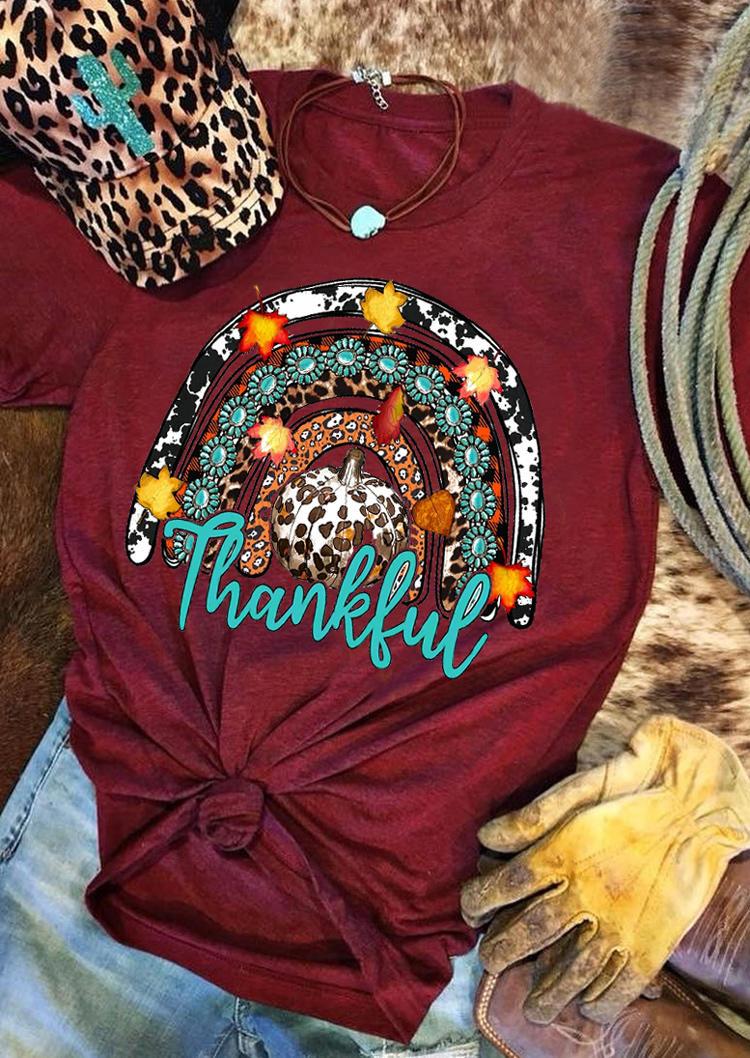 Thankful Rainbow Leopard Pumpkin Turquoise T-ShirtTee - Burgundy