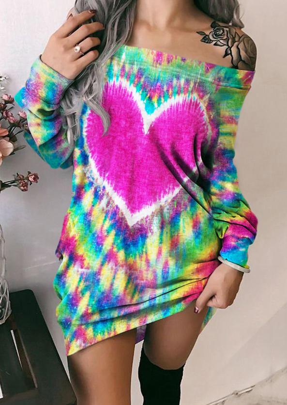 Tie Dye Heart Off Shoulder Mini Dress