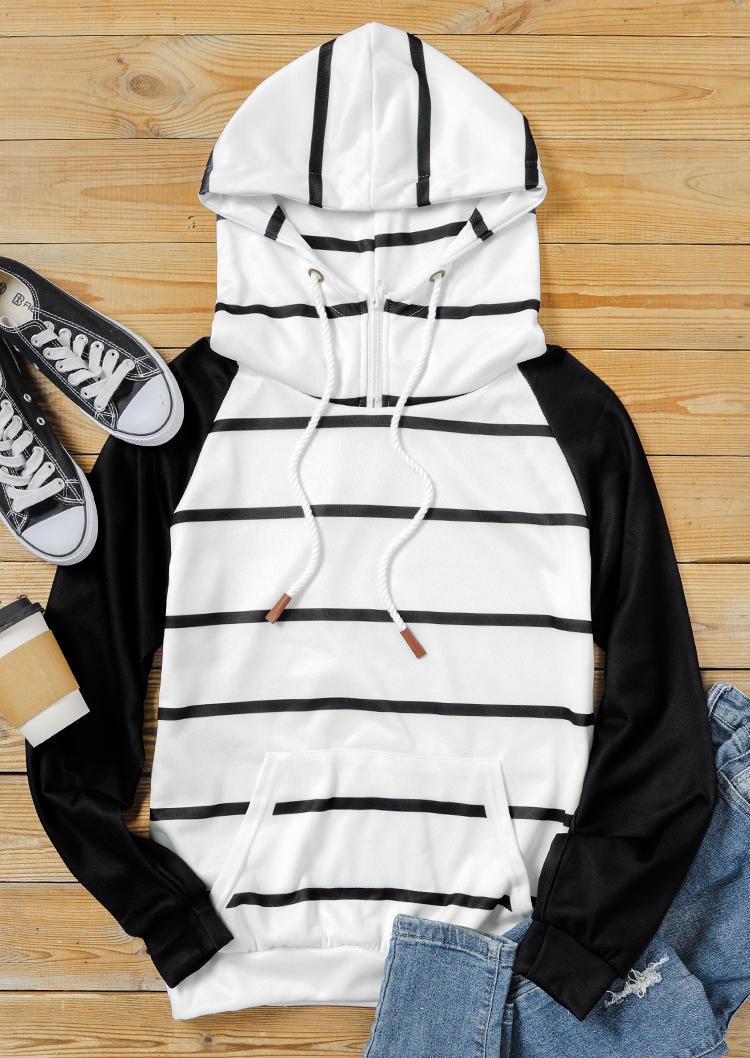 Striped Drawstring Zipper Raglan Sleeve Hoodie