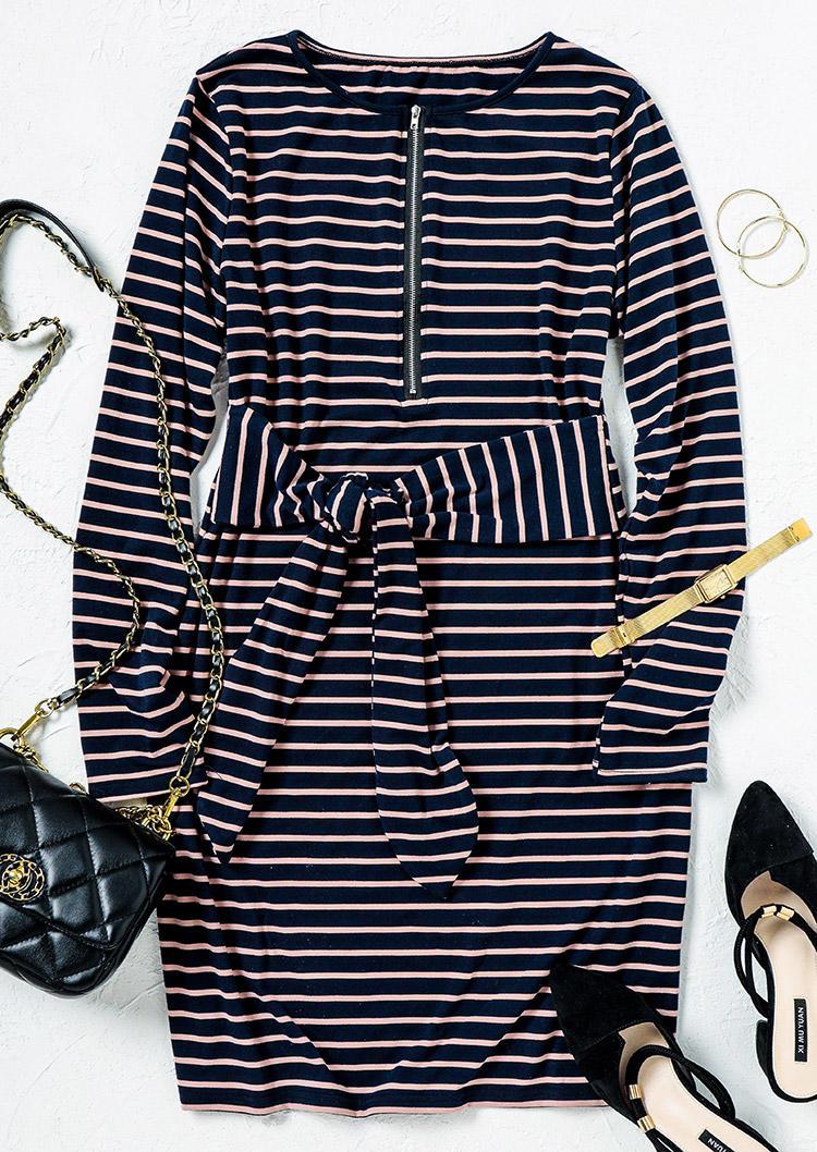 Zipper Striped Tie LongSleeve Mini Dress