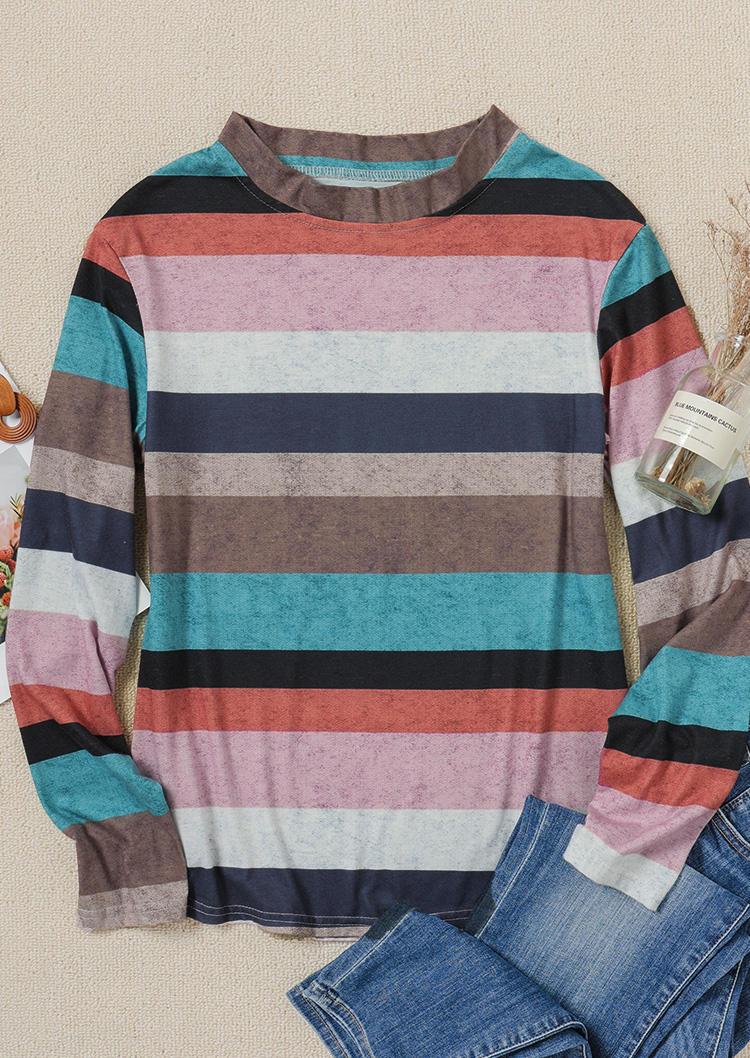 Striped Color Block Casual Blouse