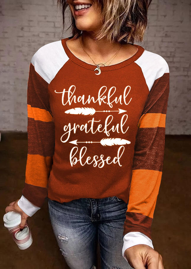 Thankful Grateful Blessed Feather LongSleeve Blouse