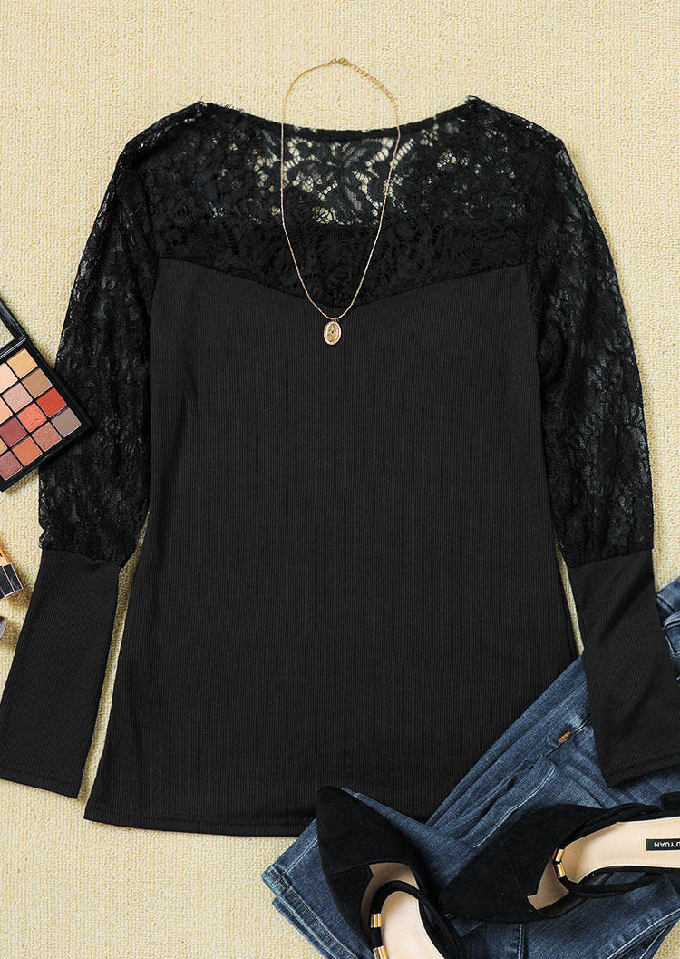 Lace Splicing Long Sleeve Blouse - Black