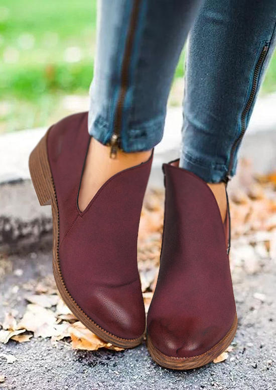 Zipper Round Toe Heeled Ankle Boots - Burgundy