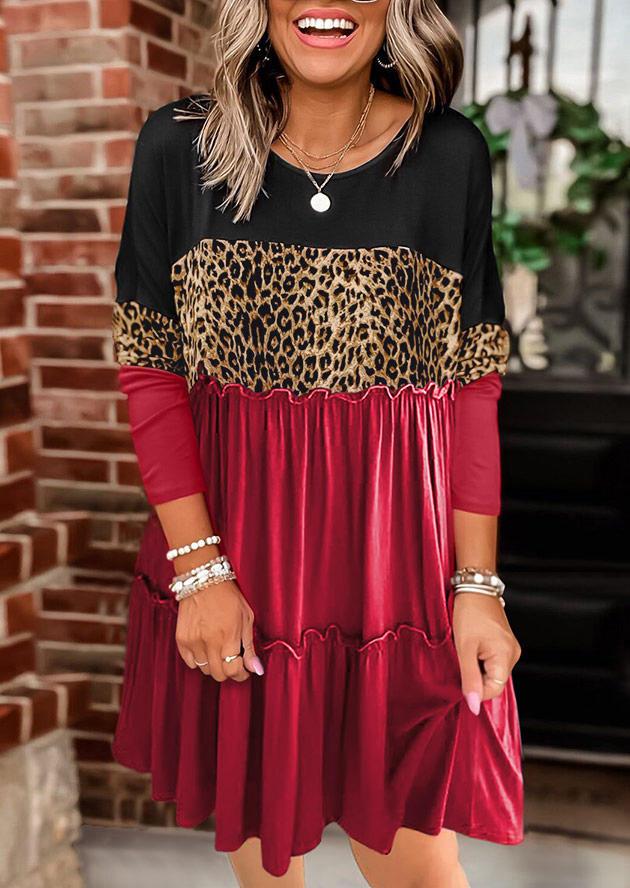 Leopard Color Block Ruffled Splicing Mini Dress