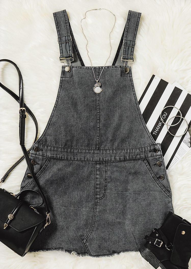 Pocket Frayed Hem Overall Denim Mini Dress - Dark Grey