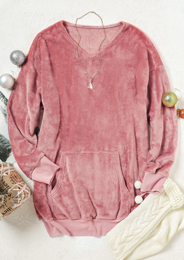 Fuzzy Kangaroo Pocket V-Neck LongSleeve Mini Dress - Pink