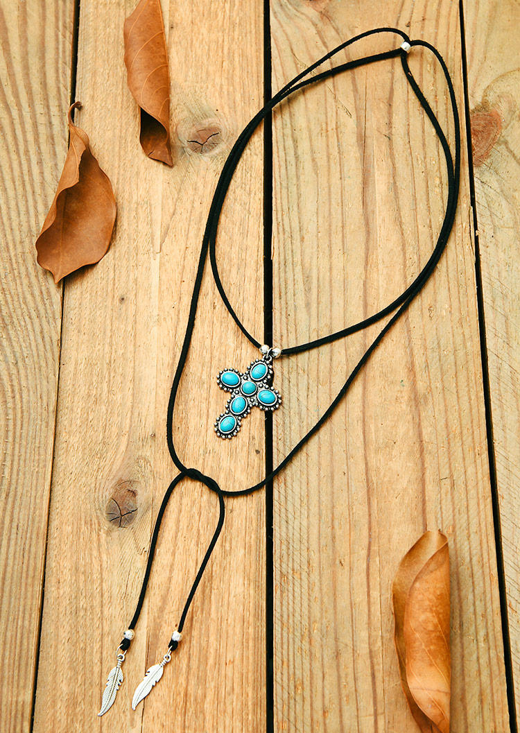 Turquoise Cross Multi-Layered Pendant Necklace