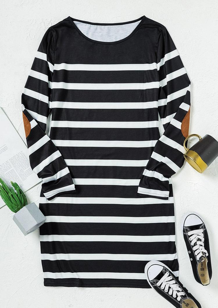 Splicing Striped LongSleeve Mini Dress