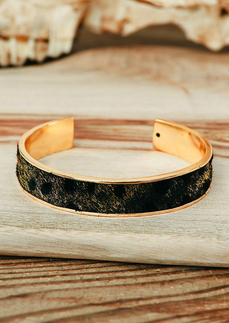 Western Leopard Cow Leather Open Bracelet