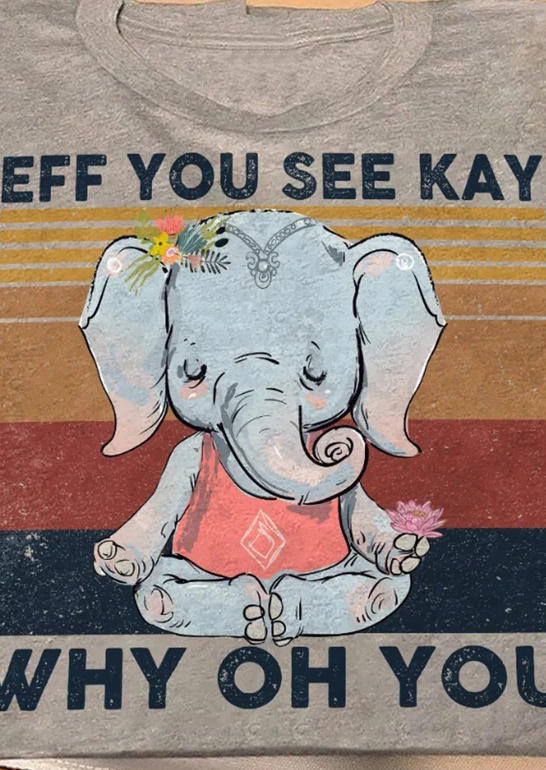 Elephant Why Oh You Floral T-ShirtTee - Gray