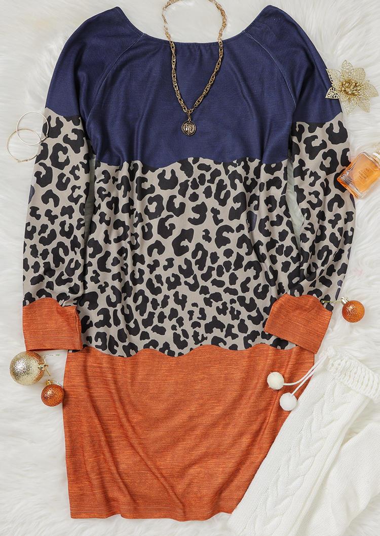 Leopard Color Block Criss-Cross LongSleeve Mini Dress