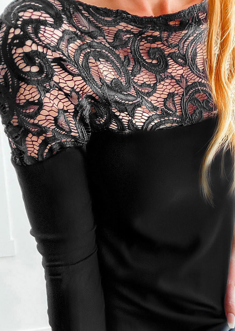 Lace Hollow Out Splicing LongSleeve Blouse - Black