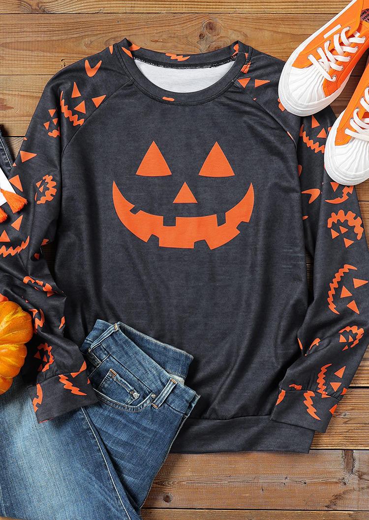 Halloween Pumpkin Face LongSleeve Sweatshirt - Dark Grey