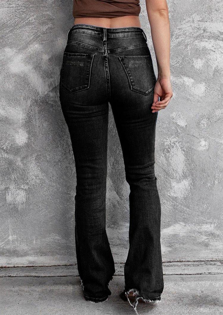 Ripped Frayed Button High Waist Denim Pants - Black