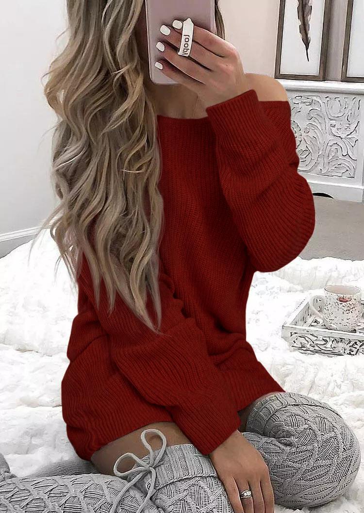 Criss-Cross Open Back Knitted Mini Dress - Red