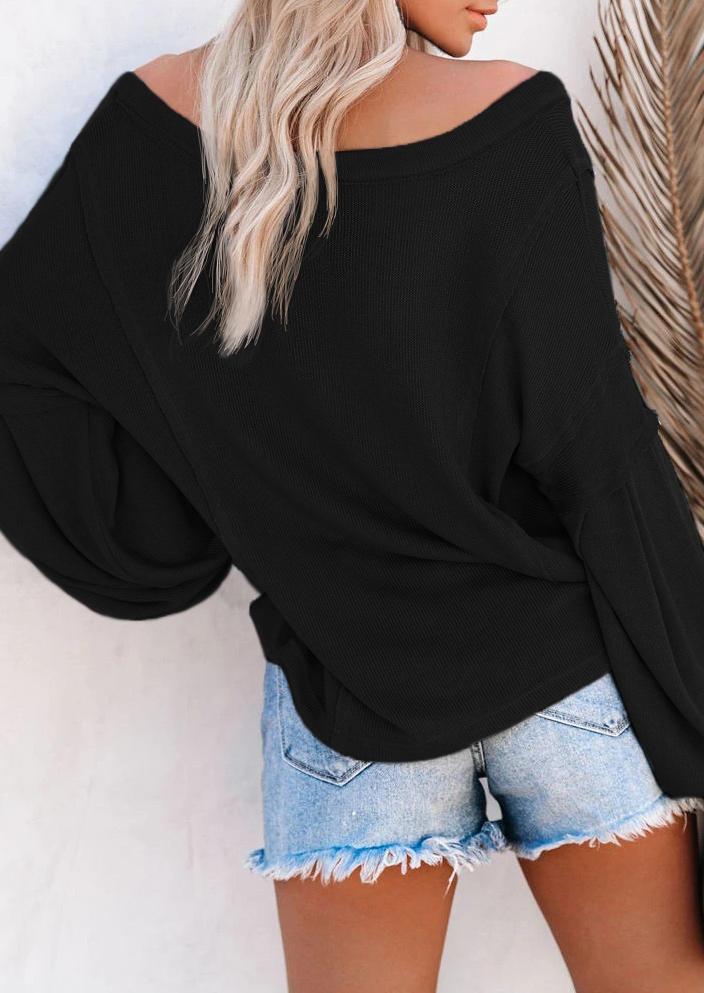 Knitted Lantern Long Sleeve V-Neck Blouse - Black
