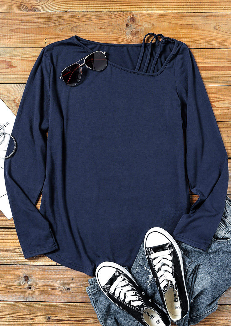 Hollow Out LongSleeve Casual Blouse - Deep Blue