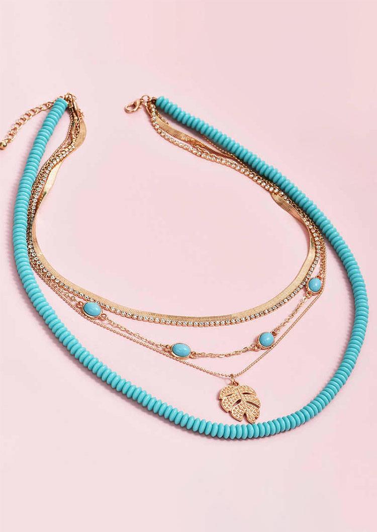 Palm Leaf Turquoise Beading Multi-Layered Necklace