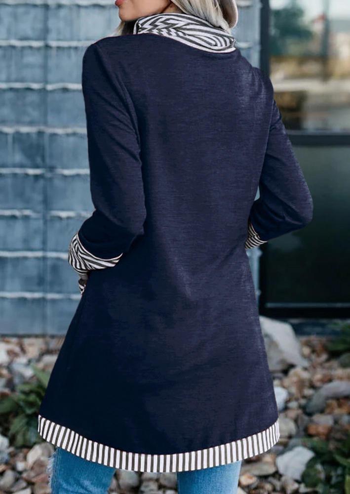 Striped Pocket Cowl Neck Blouse - Deep Blue