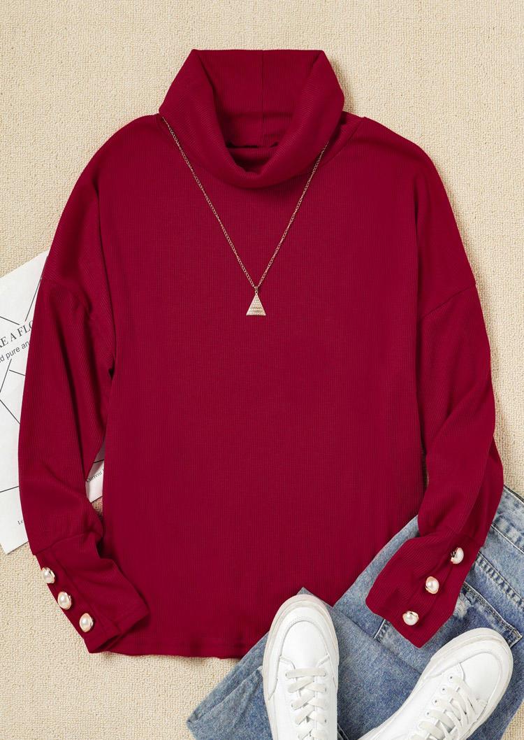 Button Knitted Turtleneck LongSleeve Blouse - Burgundy