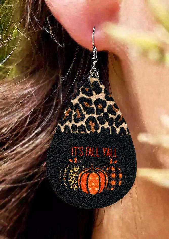 Thanksgiving It's Fall Y'all Leopard Pumpkin Water Drop Earrings