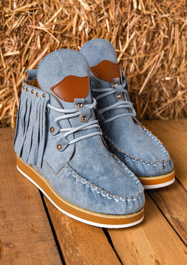 Tassel Lace Up Ankle Flat Boots - Sky Blue