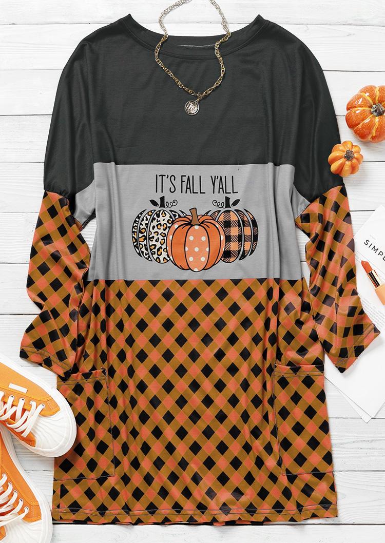 It's Fall Y'all Pumpkin Leopard Plaid Splicing Mini Dress