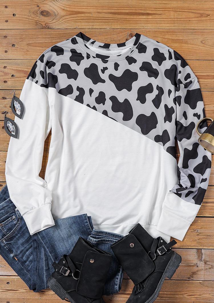 Cow Long Sleeve Pullover Sweatshirt