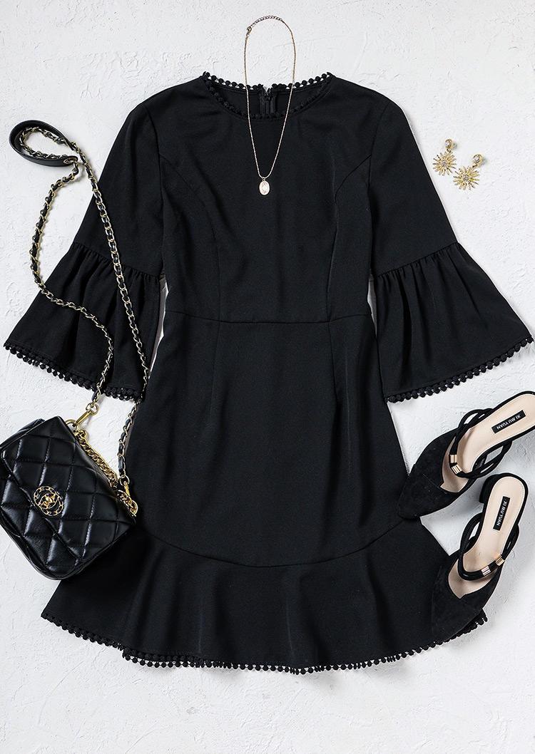 Ruffled Pom Pom Trim Dip Hem Mini Dress - Black