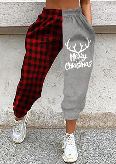 Merry Christmas Elk Plaid Color Block Sweatpants