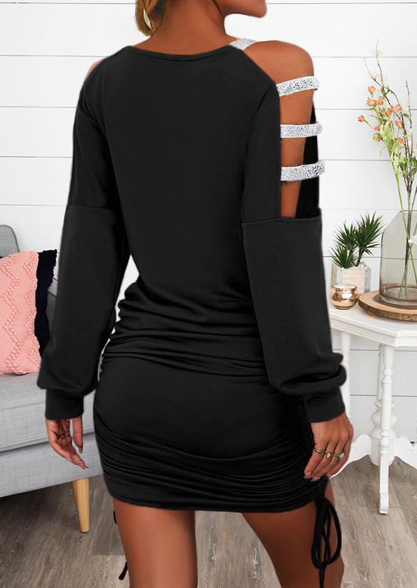 Hollow Out ColdShoulder Ruched Drawstring Bodycon Dress - Black