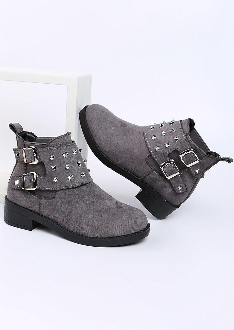 Buckle Rivet Round Toe Ankle Boots - Gray