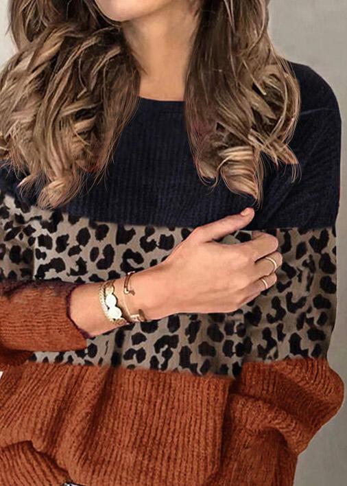 Leopard Color Block LongSleeve O-Neck Blouse