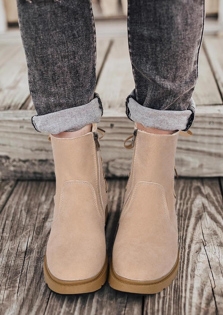 Tie Zipper Round Toe Flat Boots - Khaki