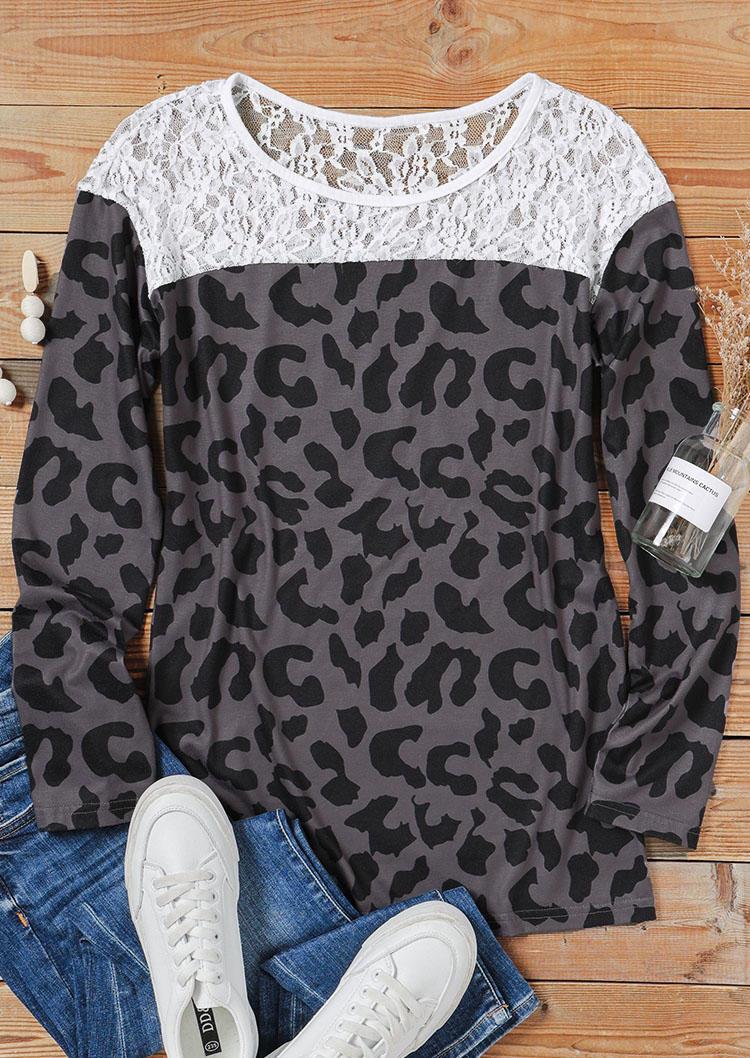 Leopard Lace Splicing Long Sleeve Blouse