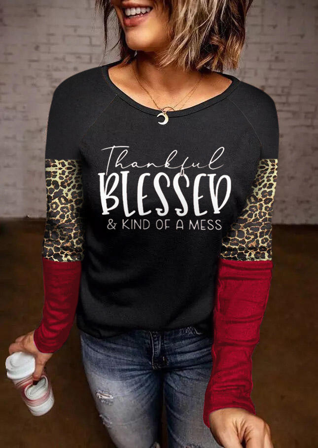 Thankful Blessed Leopard Long Sleeve Blouse - Black